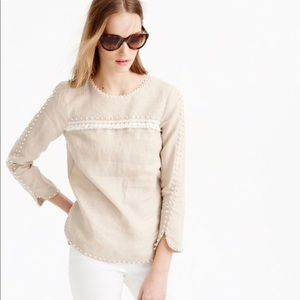 J.Crew linen embroidered top